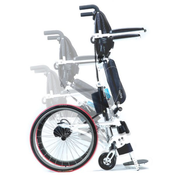 Semi-power standing wheelchair
